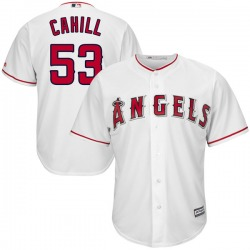 Trevor Cahill Los Angeles Angels Men's Replica Majestic Cool Base Home Jersey - White
