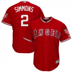 Andrelton Simmons Los Angeles Angels Youth Authentic Cool Base 2018 Spring Training Majestic Jersey - Scarlet