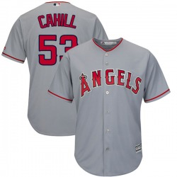 Trevor Cahill Los Angeles Angels Men's Authentic Majestic Cool Base Road Jersey - Gray