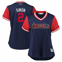 """Andrelton Simmons Los Angeles Angels Women's Replica Majestic """"SIMÓN"""" 2018 Players' Weekend Cool Base Jersey - Navy/Red"""