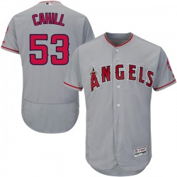 Trevor Cahill Los Angeles Angels Men's Authentic Majestic Flex Base Road Collection Jersey - Gray
